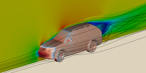 Computational fluid dynamics of aerodynamics of a car