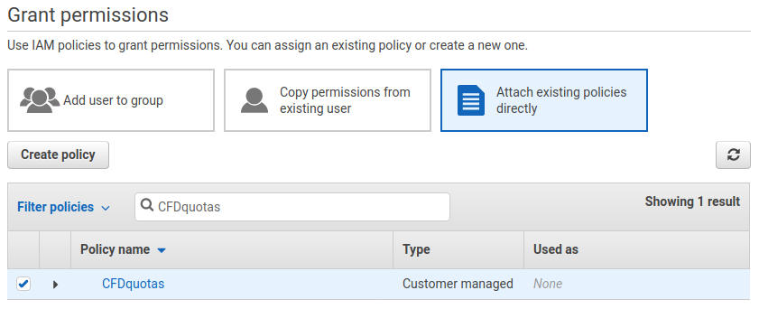 AWS attach quotas policy