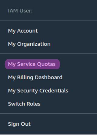 AWS service quotas menu